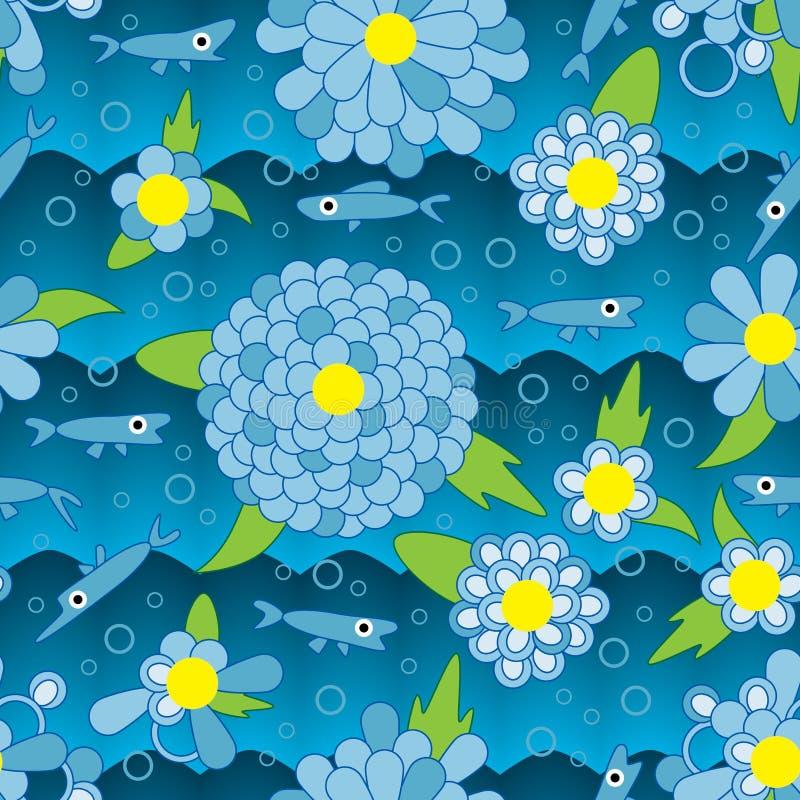 愉快的花鱼蓝色无缝的样式 向量例证
