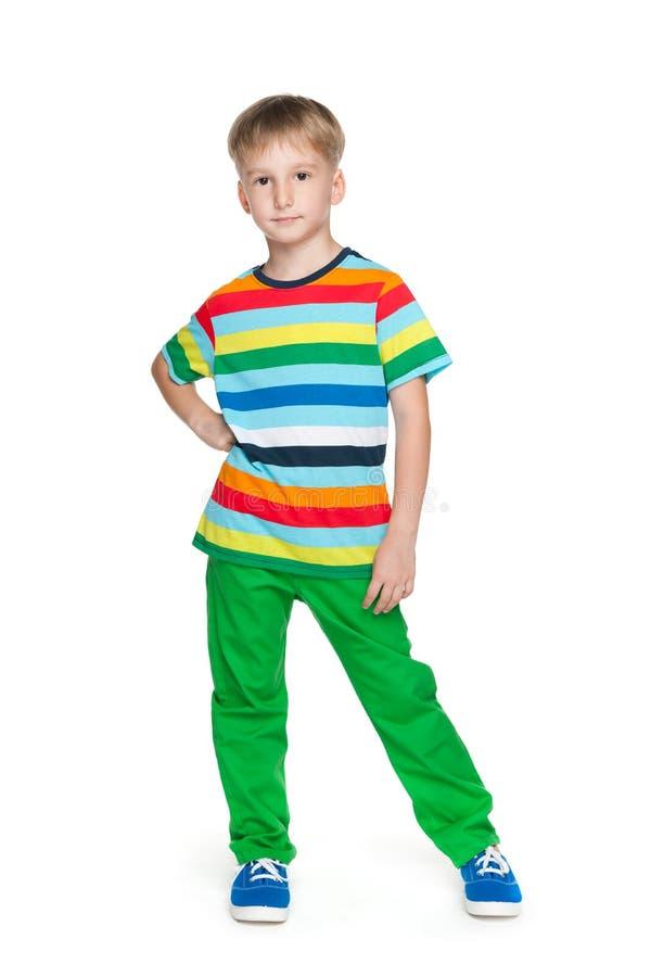 愉快的英俊的小男孩 免版税库存照片