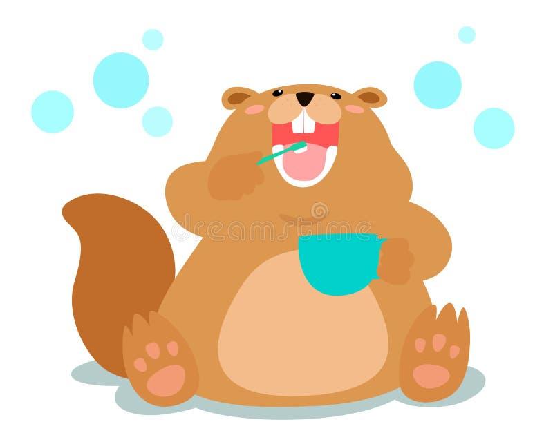 愉快的蓬松海狸爱掠过的牙动画片 皇族释放例证