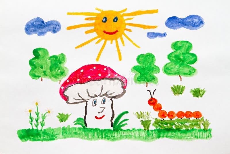 愉快的蘑菇 向量例证