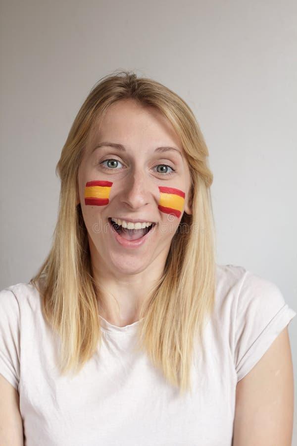 愉快的西班牙体育迷 库存照片
