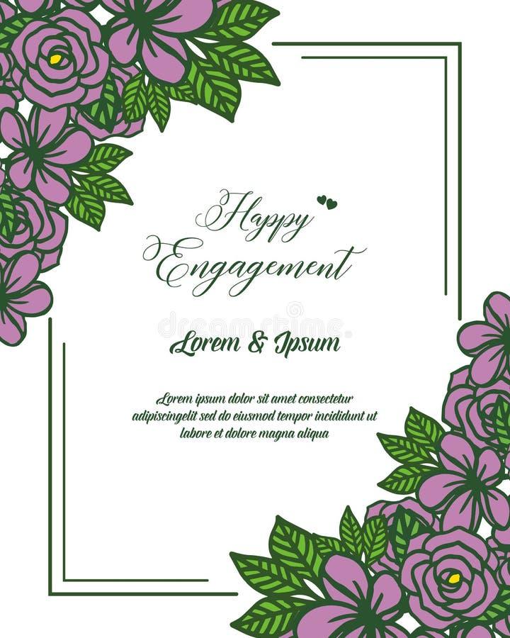 愉快的订婚卡片模板的传染媒介例证美好的花圈框架  库存例证