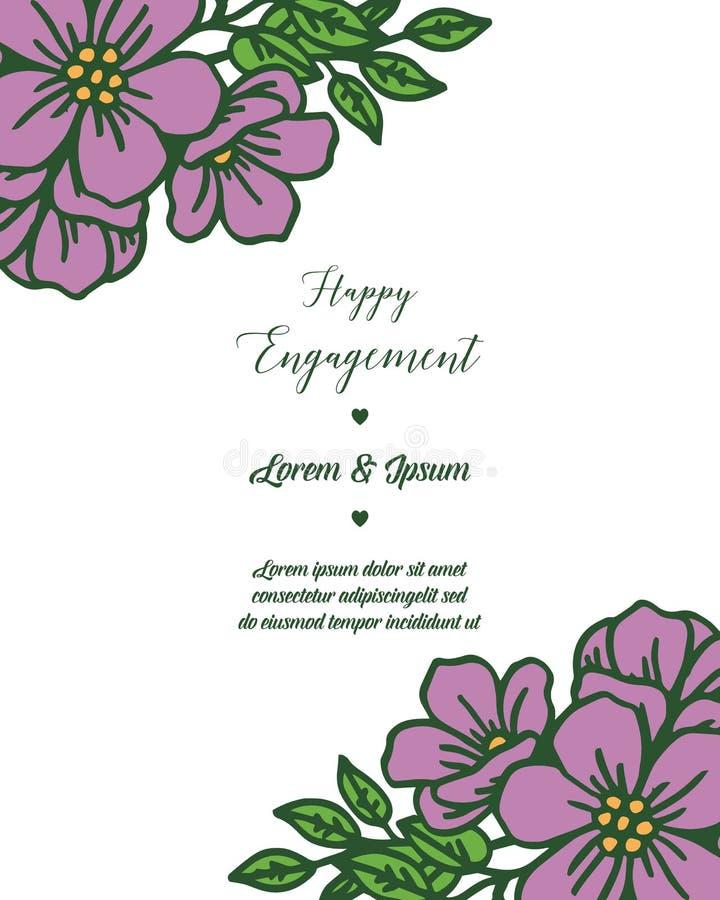 愉快的订婚的装饰的传染媒介例证花圈美好的框架 向量例证