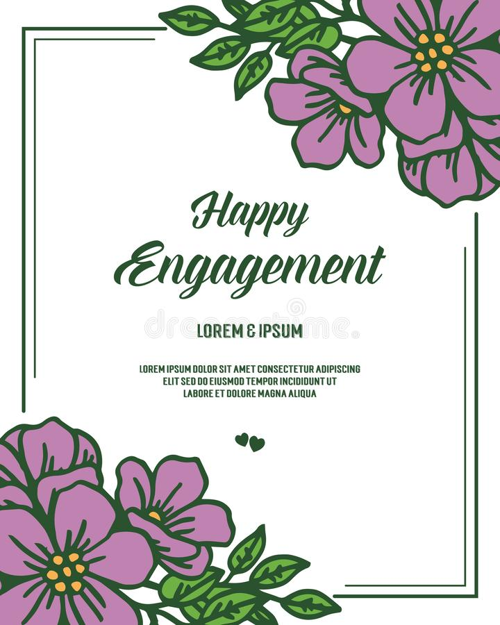 愉快的订婚的装饰的传染媒介例证花圈美好的框架 库存例证