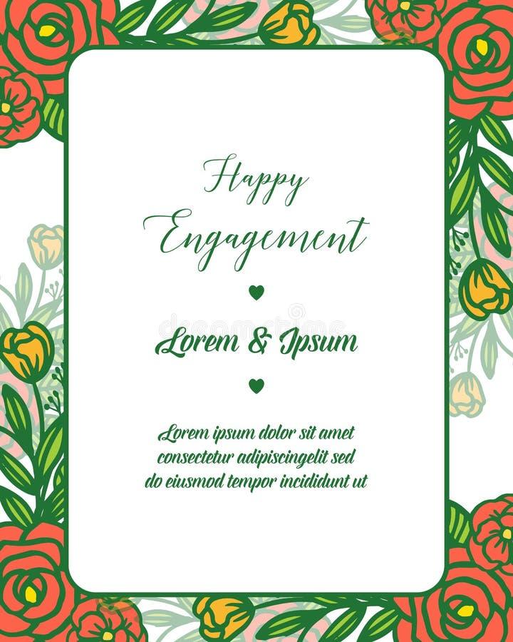 愉快的订婚的装饰的传染媒介例证设计美好的花卉框架 皇族释放例证