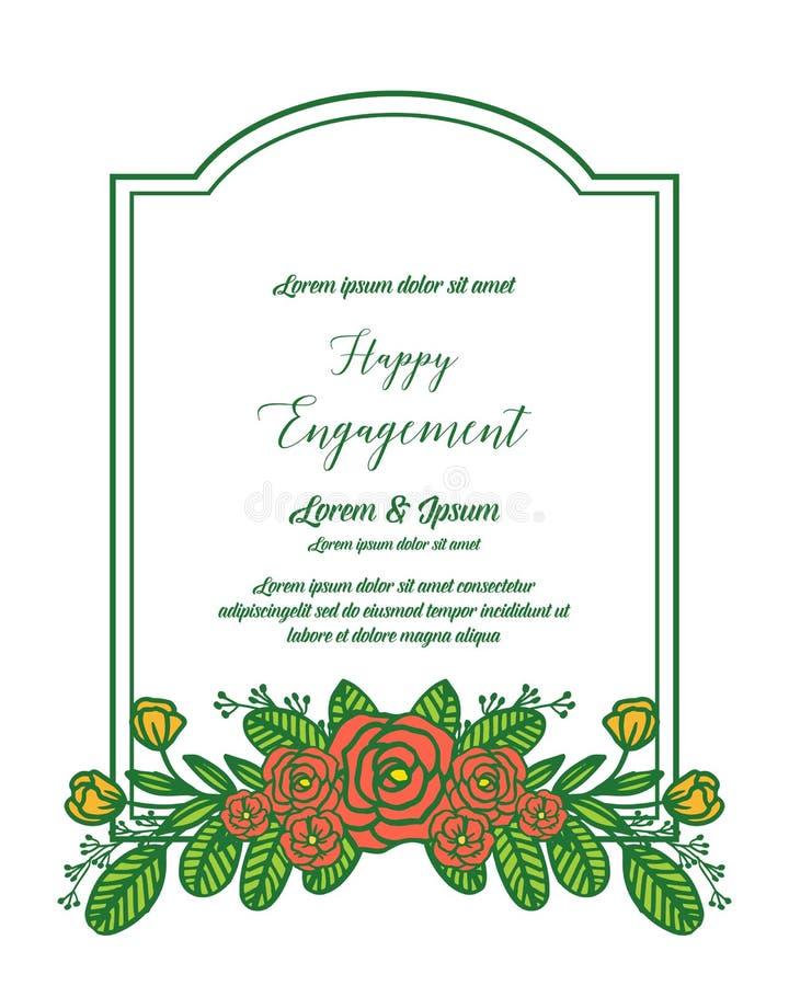愉快的订婚的装饰的传染媒介例证设计美好的花卉框架 向量例证