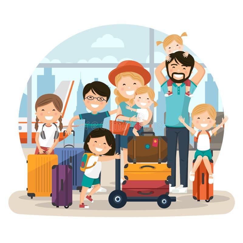 愉快的许多家庭在等待飞行的机场 向量例证