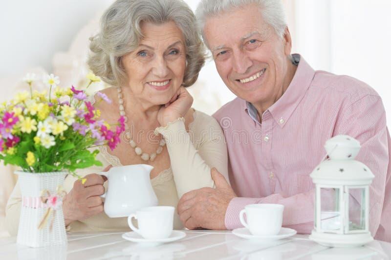 愉快的资深夫妇在家摆在的和饮用的茶画象  库存图片