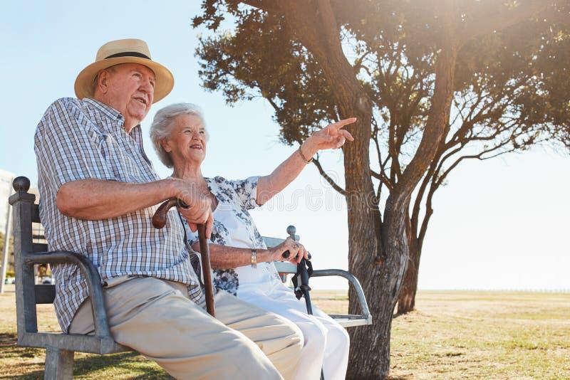 愉快的资深夫妇坐公园长椅 免版税库存图片