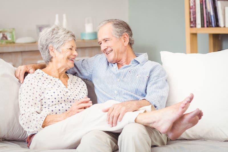 愉快的资深夫妇坐沙发在客厅 库存照片