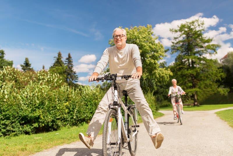 愉快的资深夫妇骑马在夏天公园骑自行车 免版税库存图片