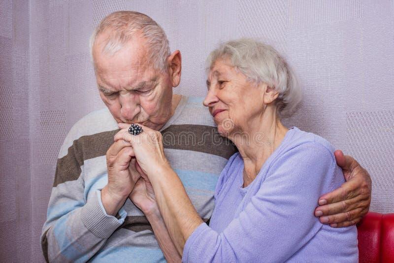 愉快的资深夫妇,人亲吻的手画象  库存照片