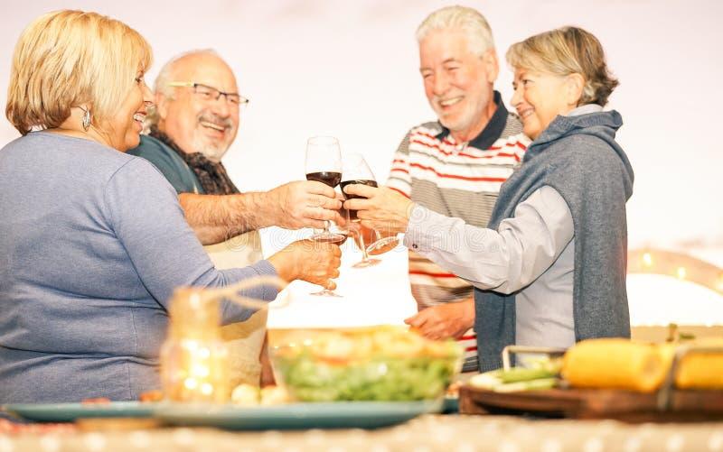 愉快的资深朋友敬酒与红酒的在大阳台的烤肉晚餐-欢呼成熟的人民一起用餐和 库存图片
