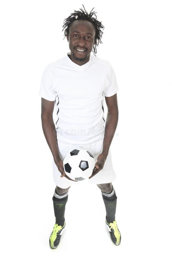 愉快的足球运动员画象  库存照片