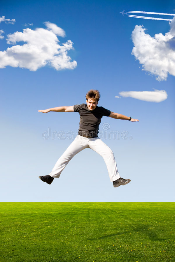 愉快的跳的人 免版税图库摄影