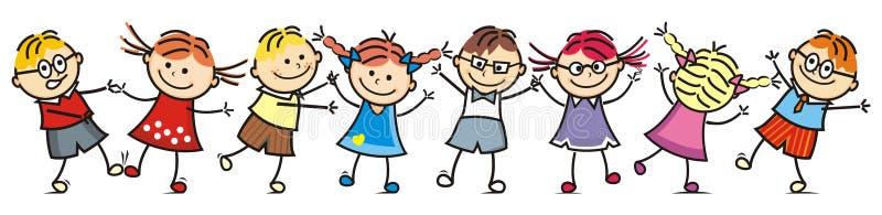 愉快的跳舞哄骗,小组孩子,微笑面孔 向量例证