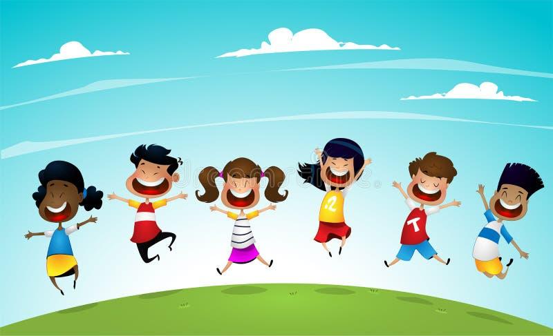 愉快的快乐跳跃和笑幸福,高兴和乐趣的概念动画片学校多种族孩子 导航图片