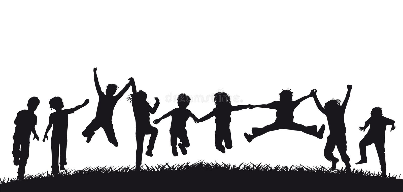 愉快的跳跃的儿童剪影 皇族释放例证