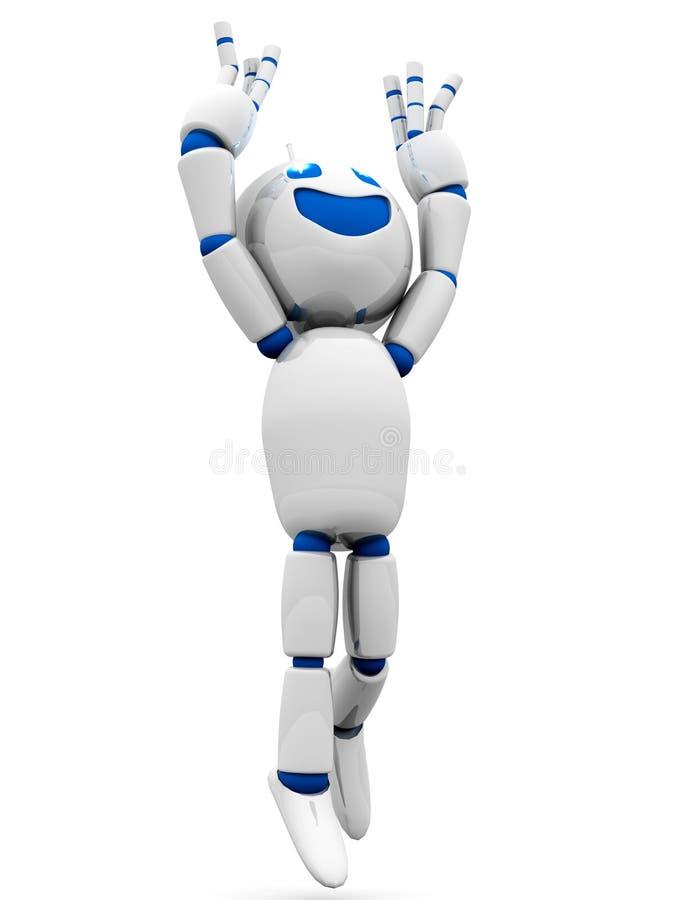 愉快的跳跃的动画片机器人 皇族释放例证