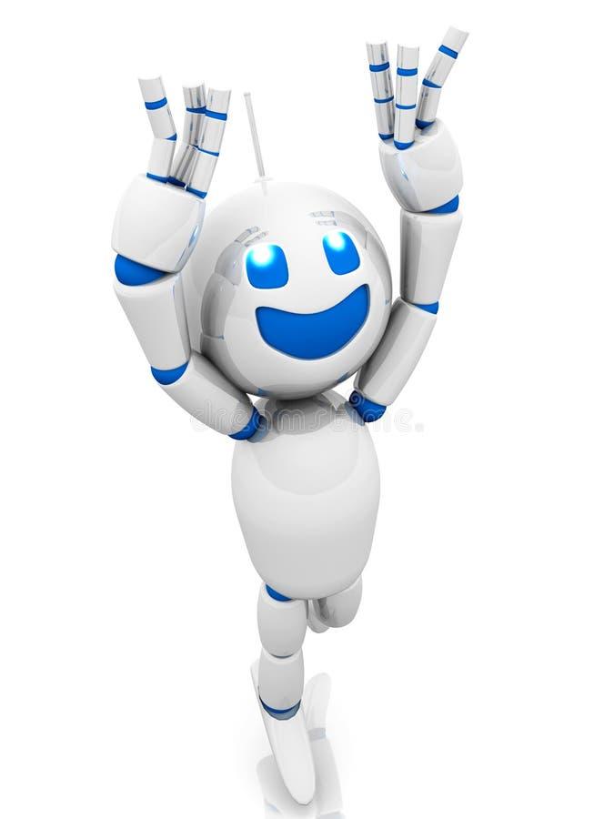 愉快的跳跃的动画片机器人 向量例证