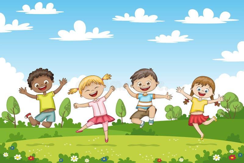 愉快的跳跃的孩子 滑稽的漫画人物.图片
