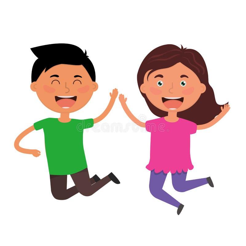 愉快的跳跃的孩子 男孩和女孩获得一个乐趣 最好的朋友有成功,幸福 ?? 库存例证