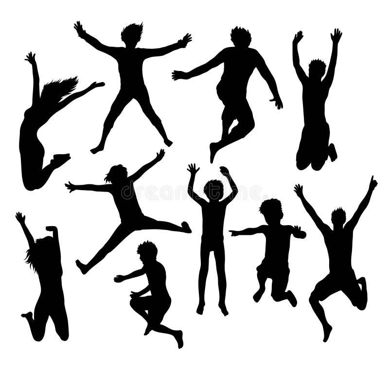 愉快的跳跃的家庭和朋友剪影 库存例证