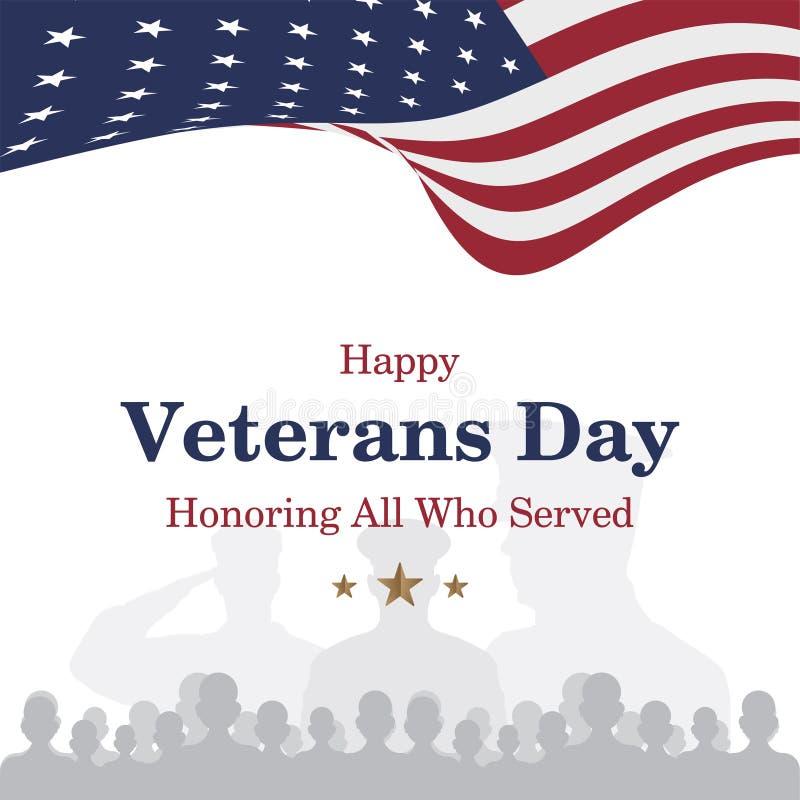 愉快的退伍军人日 与美国旗子的背景的贺卡和战士 全国美国假日事件 平的illustrati 免版税库存照片