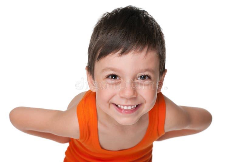 愉快的逗人喜爱的小男孩 图库摄影