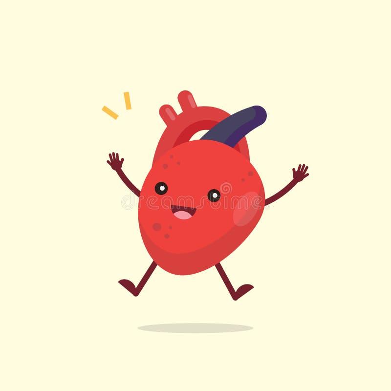 愉快的逗人喜爱的心脏器官字符,健康概念,传染媒介illust 库存例证
