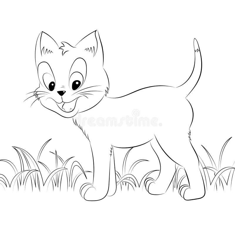 愉快的逗人喜爱的概述小猫 简单的动画片样式 艺术彩图的页孩子的 皇族释放例证