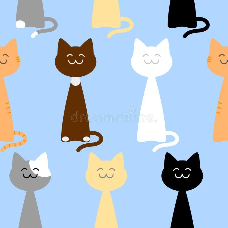 愉快的逗人喜爱的猫无缝的样式,传染媒介例证 向量例证