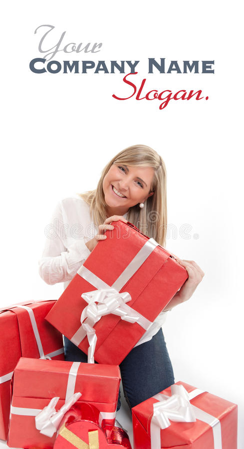 愉快的逗人喜爱的白肤金发的开头礼物 库存图片