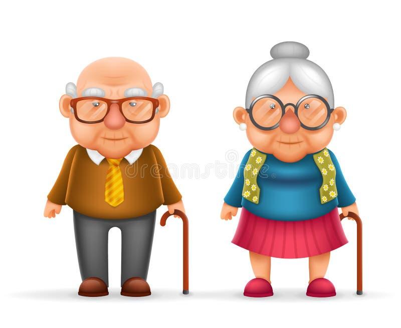 愉快的逗人喜爱的老人Grandfather Granny 3d夫人现实动画片家庭字符设计隔绝了传染媒介例证 库存例证