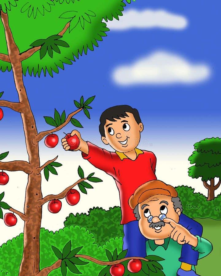 愉快的采摘苹果动画片的孩子和祖父 库存例证