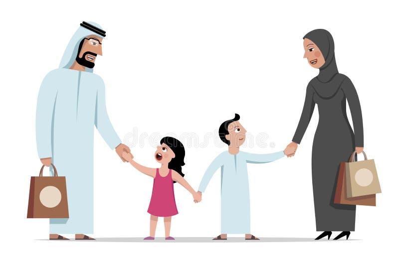 愉快的阿拉伯家庭、父母和孩子握手 向量例证