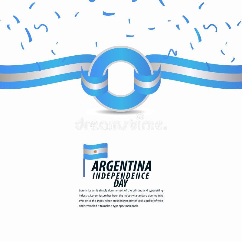 愉快的阿根廷美国独立日庆祝,海报,丝带横幅传染媒介模板设计例证 库存例证