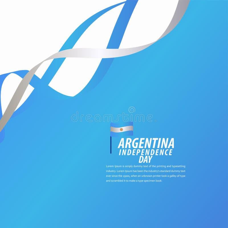 愉快的阿根廷美国独立日庆祝,海报,丝带横幅传染媒介模板设计例证 向量例证