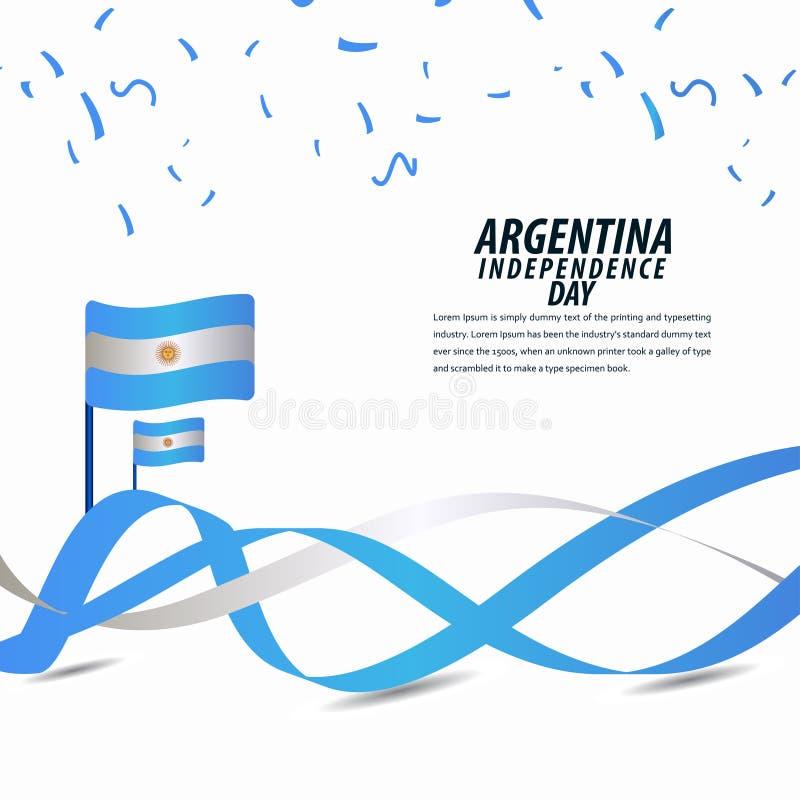 愉快的阿根廷美国独立日庆祝,海报,丝带横幅传染媒介模板设计例证 皇族释放例证