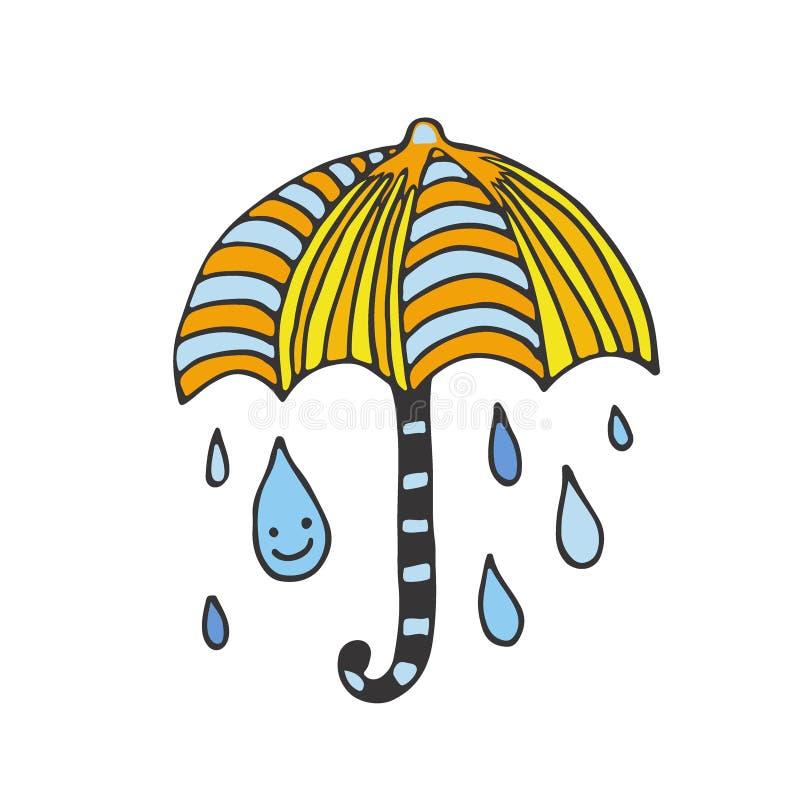 愉快的雨卡片 乱画例证 贴纸设计 黑色更改图标伞向量白色 向量例证