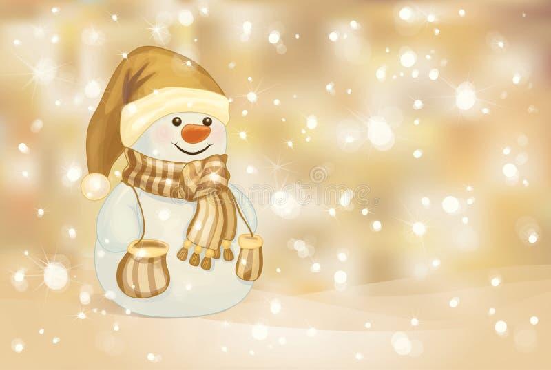 愉快的雪人传染媒介金黄背景的。 向量例证