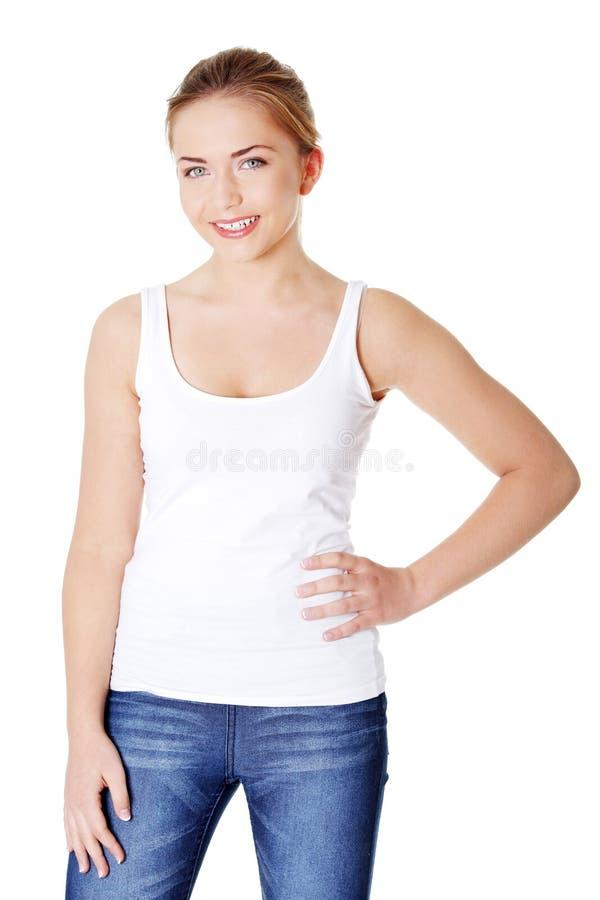 愉快的青少年的妇女 免版税图库摄影
