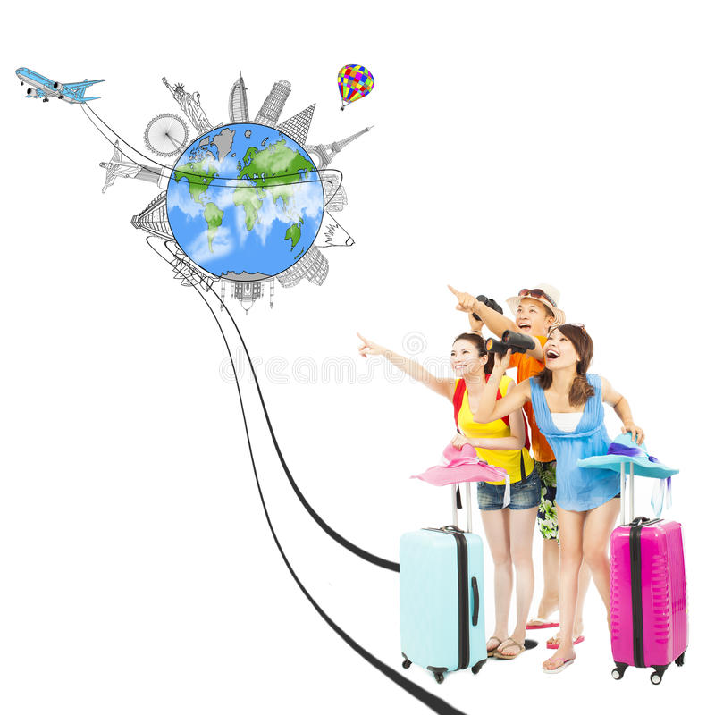 愉快的青年人指向全世界地标方向 库存图片
