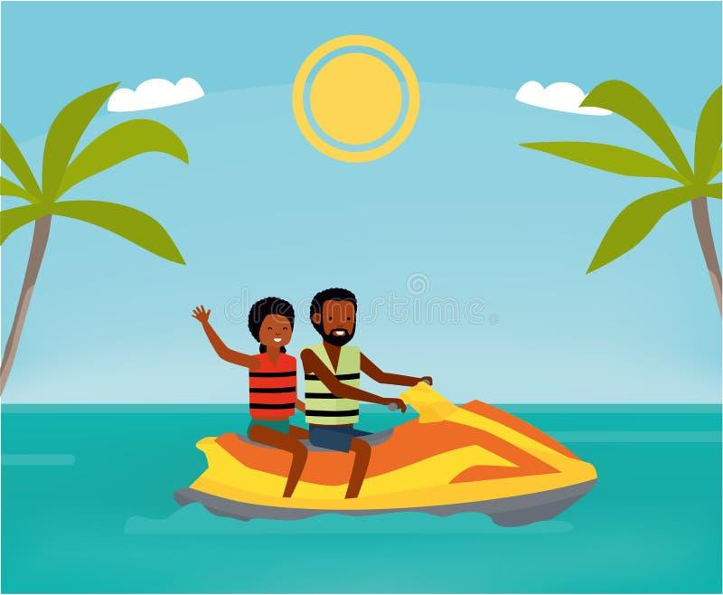 愉快的非洲夫妇在蓝色海洋喜欢乘坐滑雪喷气机 katya krasnodar夏天领土假期 外籍动画片猫逃脱例证屋顶向量 海运浏览 破擦声 向量例证