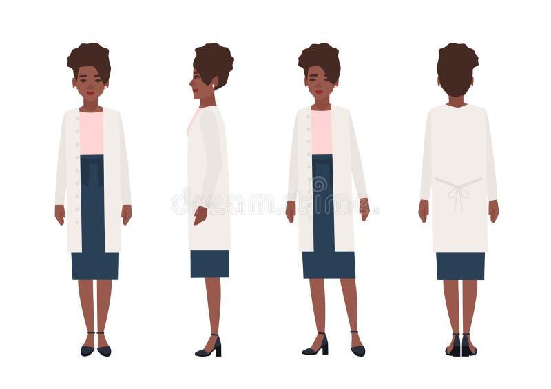 愉快的非裔美国人的妇女在白色背景隔绝的便衣穿戴了 典雅的时髦的女性动画片 向量例证