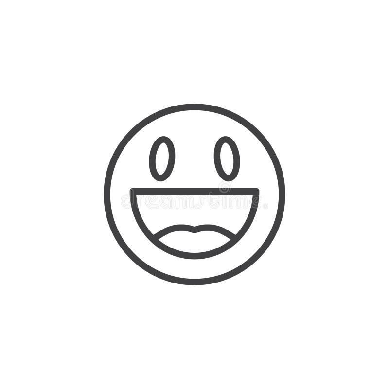 愉快的面孔emoji线象 皇族释放例证