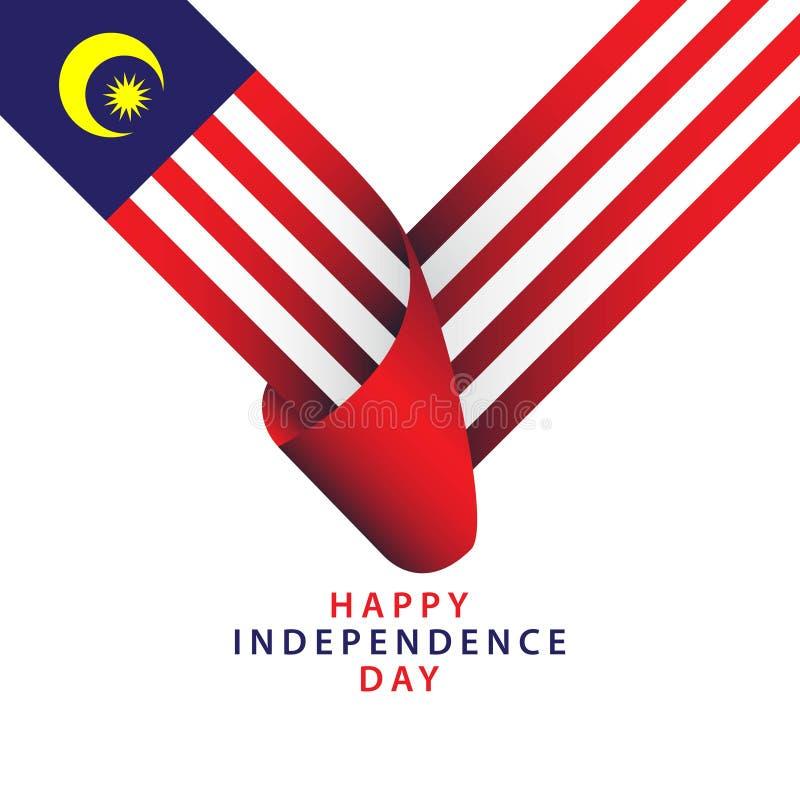 愉快的马来西亚美国独立日传染媒介模板设计例证 库存例证