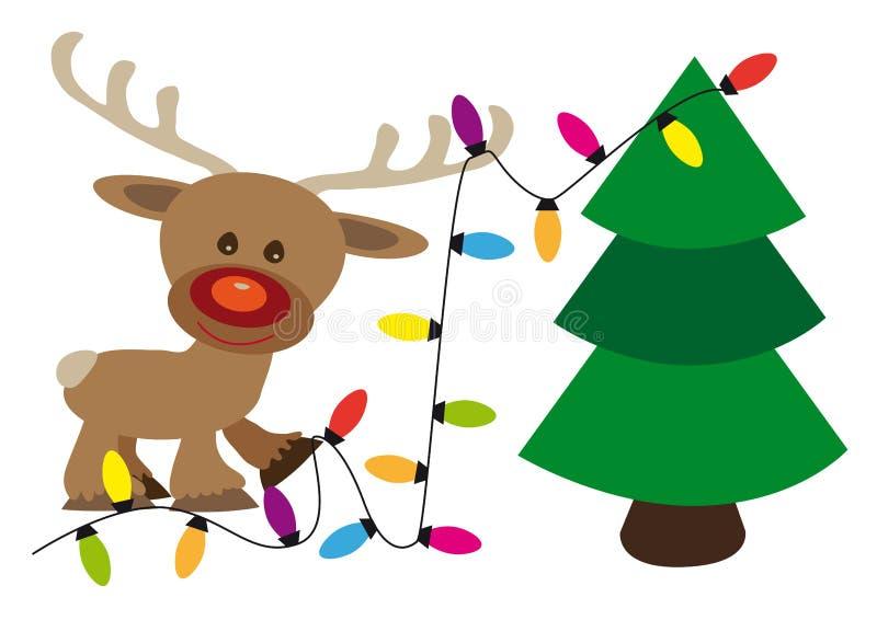 愉快的驯鹿装饰与淡色链子的一棵圣诞树 皇族释放例证