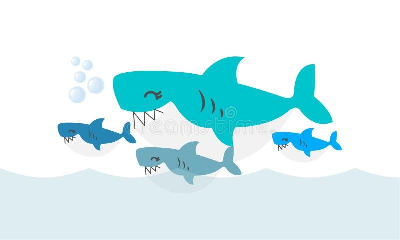愉快的鲨鱼家庭 逗人喜爱动物的字符 库存例证