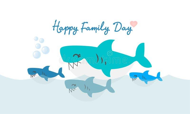 愉快的鲨鱼家庭 逗人喜爱动物的字符 向量例证